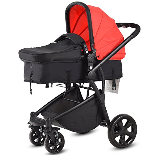 Costzon Infant Stroller, 2-in-1 Foldable 4-Wheel Baby Toddler Stroller, Convertible Bassinet Reclining Stroller Compact Single Baby Carriage with Adjustable Handlebar and Storage Basket (Red)