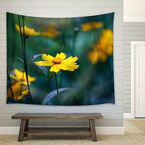 Yellow Flowers Misty Morning Fabric Wall