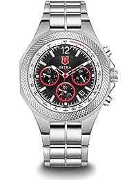 "Tetra Men's Italian Design Special Edition ""Torino Aventura"" Swiss Luminous Watch Solid Triple Link Stainless..."