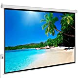 """100"""" HD Electric Motorized Projector Screen with Wall/Ceiling Mount Remote and Case, Viewing Area 4:3/80"""" x 60"""" Viewing Area Automatic Projection Display, Matte White"""