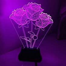 EchoAcc® Rose 2D Glow LED Lamp Stereoscopic Luminous Art Sculpture Lights Up in Produces Unique Lighting Effects and 3D visualization Amazing Optical Illusion For LOVER Valentine's Day Gift Christmas Mother's Day Gift
