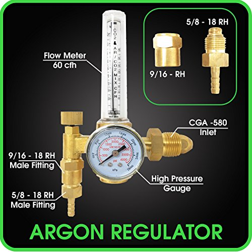 Argon Regulator TIG Welder MIG Welding CO2 Flowmeter 10 to 60 CFH - 0 to 4000 psi pressure gauge CGA580 inlet Connection Gas Welder Welding Regulator More Accurate Gas Metering For Gas Delivery (Gas Inlet)