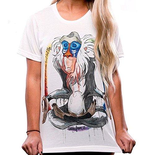Women's Cartoon Rafiki Print Summer Short Sleeve Cotton T Shirt Tops (M)