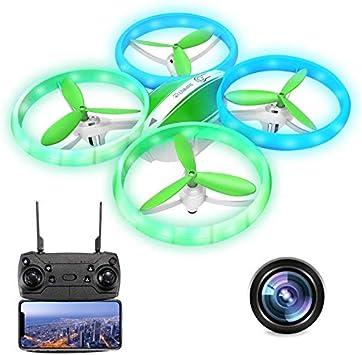 EACHINE E65HW, Drone con Camara 1080p HD para Niños Adultos, WiFi en Real FPV Trayectoría de Vuelo Batería Módula 3 Velocidades 360°Giros Sensor de Gravedad una Tecla de Retorno (Verde)