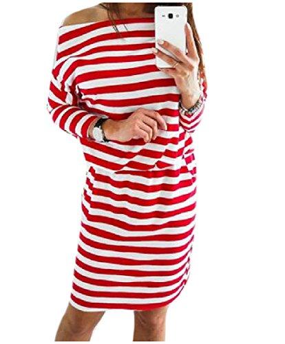 Vogue Confortables Automne Féminin Encolure Bateau Rayé Rouge Longue De Robe À Manches