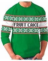 Fruit Cake Snow Flake Holiday Print Tacky Adult Green Ugly Christmas Sweater