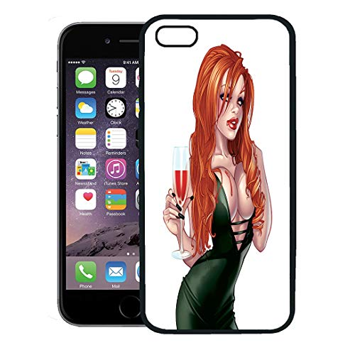 Semtomn Phone Case for iPhone 8 Plus case Cover,Green Sexy Vampire Pinup Girl Cartoon Woman Beautiful Beauty Blood,Rubber Border Protective Case,Black]()