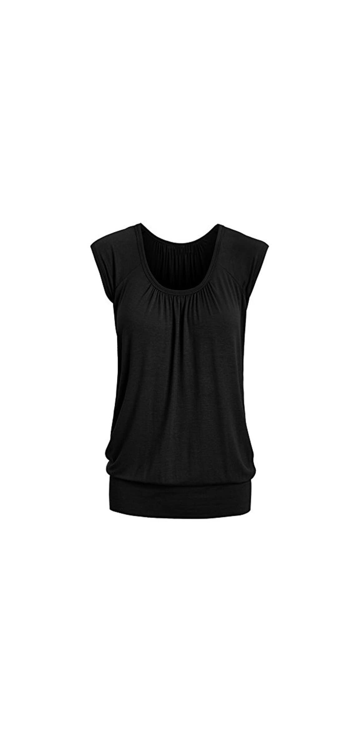 Women Summer Casual Round Neck Solid Short Sleeve Blouse