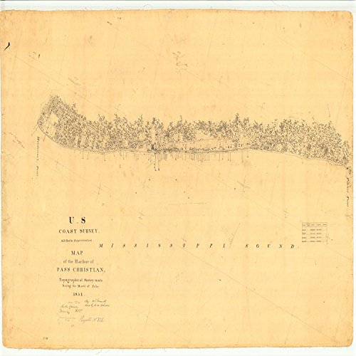 16 x 20 Glossy Nautical Map Printed on Metal Harbor of Pass Christian, Mississippi 1851 NOAA 86a by Vintography