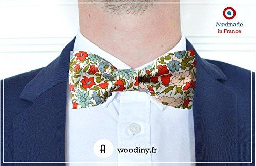 Noeud papillon (tissu) - Giverny - Liberty rouge et vert - Fabriqué en France par Woodiny
