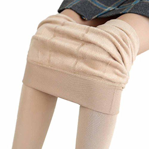 Forthery Women's Winter Stretchy Thick Fleece Lined Thermal Tights Leggings (Khaki)