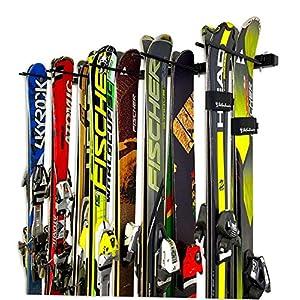 StoreYourBoard Omni Ski and Snowboard Wall Storage Rack | Holds 10 Pairs of Skis | Ski Wall Mount Home & Garage Storage Hanger