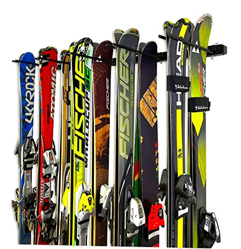 StoreYourBoard Omni Ski and Snowboard Wall Storage Rack, Holds 10 Pairs, Ski Wall Mount, Home and Garage Storage Hanger