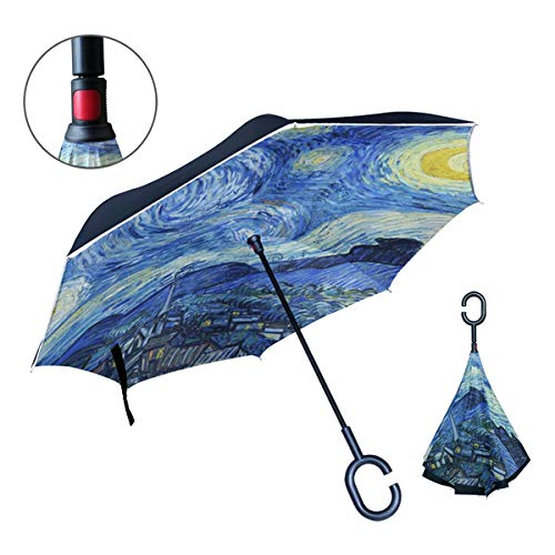 C Shape Handle - OREZI Van Gogh Starry Night Art Double Layer Travel Inverted Umbrella with C Shape Handle for Car Use ,Windproof and WaterProof Reverse Folding Lightweight Umbrellas for Men and Women.