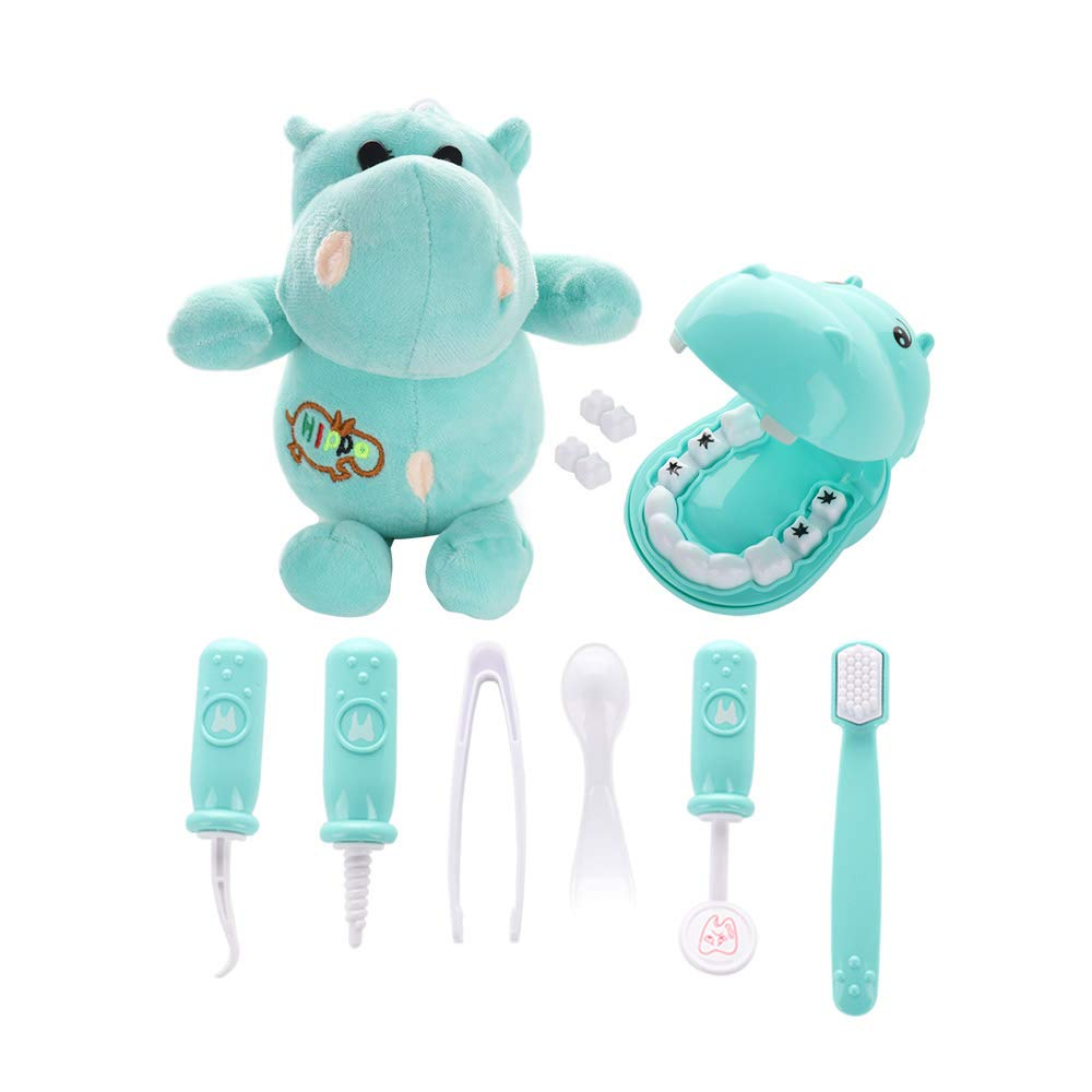 RTWAY Play Doctor Kit for Kids, 9 Pieces Pretend Play Dentist Medical Set with Hippo Plush Toy Doctor Roleplay Toddlers Birthday Xmas Gifts (Green)