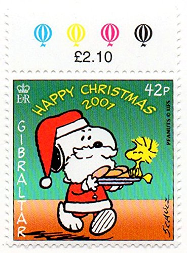 Gibraltar Postage Stamp Single 2001 Christmas Snoopy Issue 42 P Scott 893