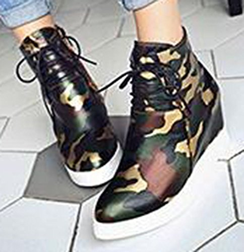 Easemax Womens Chic Lace Up Pointed Toe Wedge Heel Ankle Boots Green JZcdzDdmkO