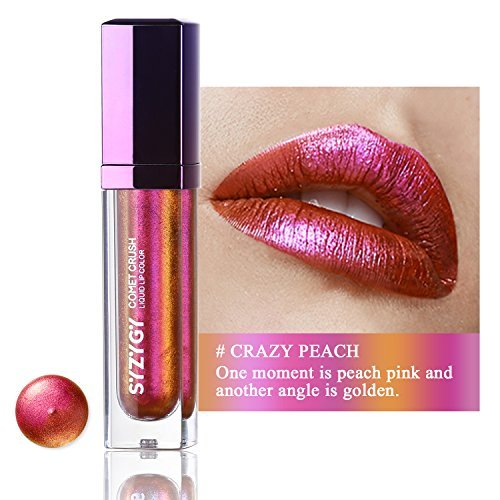 SYZYGY Liquid Lipstick, Duochrome Holographic Long Lasting Metallic Lip Color, Iridescent Glitter Lip Gloss, Crazy Peach