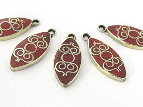 4 pieces - Tibetan silver drop shape charm pendants with coral inlay - PM507B