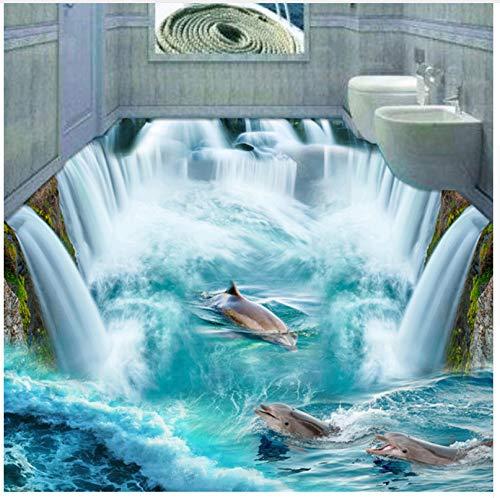Dolphin Waterfall (Custom 3D Flooring Mural Wallpaper Stereoscopic Dolphin Waterfall Floor Sticker Painting Bathroom Floor Decor Vinyl Wallpaper 250x175cm)