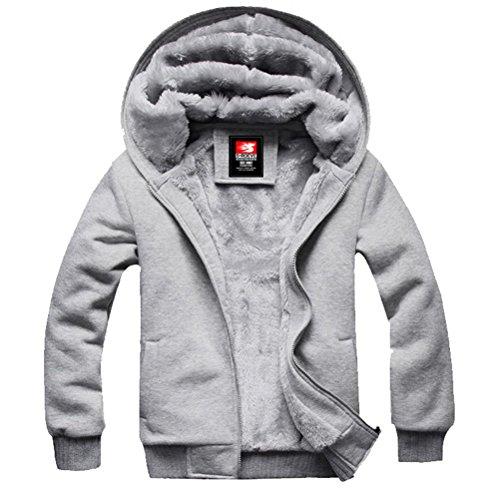 YINHAN? Mens Wool Hooded Zipper Cardigan Fleece Coats