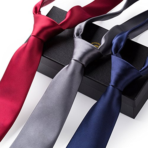 Set of 3 Elegant 3.3 inch Neck Ties Mixed Colors for Men By GradeCode