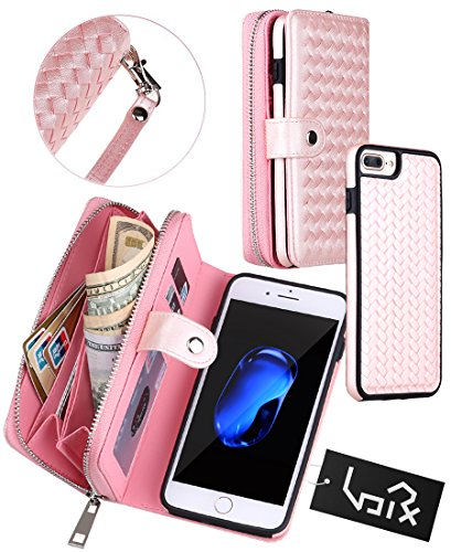 Urvoix iPhone 8 Plus/iPhone 7 Plus Case, Woven Skin Leather Zipper Wallet Detachable/Separable Magnetic Back Shell Cover w/Hand Strap, Card Slots for iPhone 8Plus / iPhone 7Plus (5.5 Screen) Pink