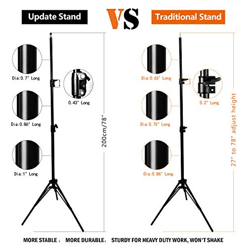 MOUNTDOG Upgraded 6.5 Ft/ 200CM / 78inch Photography Tripod Light Stand Aluminum Alloy Photographic Stand for Studio Reflector Softbox Umbrellas-6.5ftX2 by MOUNTDOG (Image #1)