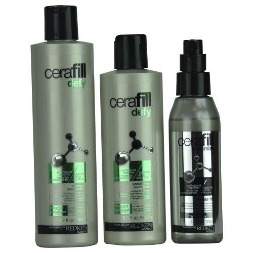 Redken Cerafill Defy Kit Thicker Fuller Hair Instantly 3 Piece Kit by REDKEN