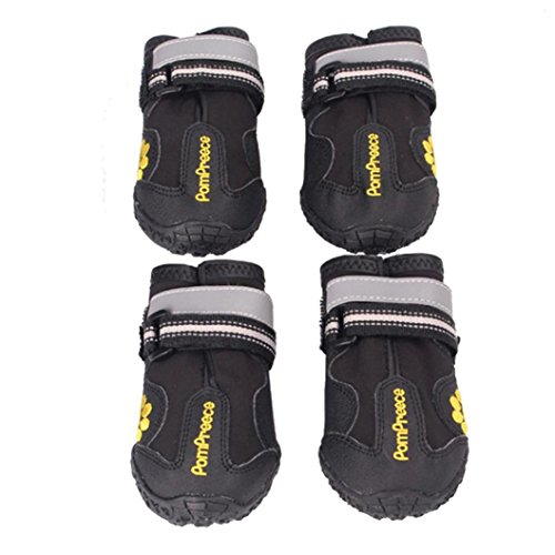 [Koolee Dog Boots Non-Slip Black Dog Shoes with Rubber Bottom for Medium to Large Dogs Labrador Husky Shoes, 4 Pcs, Waterproof (8(Long 3.34