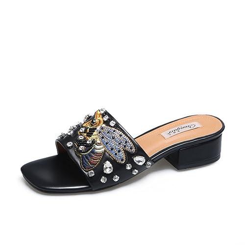 Adornados Y Bordados,Cabeza Cuadrada,Rugoso Con,Una Palabra De Arrastre Frío/Señora,Verano,Zapatillas De Tacón Medio: Amazon.es: Zapatos y complementos