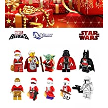 ABG toys Minifigures STAR WARS MARVEL DC Comics Super Heroes CHRISTMAS Santa Harley Quinn, C-3PO, Deadpool, The Joker, Darth Vader, Yoda, Batman, Boba Fett Minifigure Series Building Blocks Sets Toy(No box, no card)