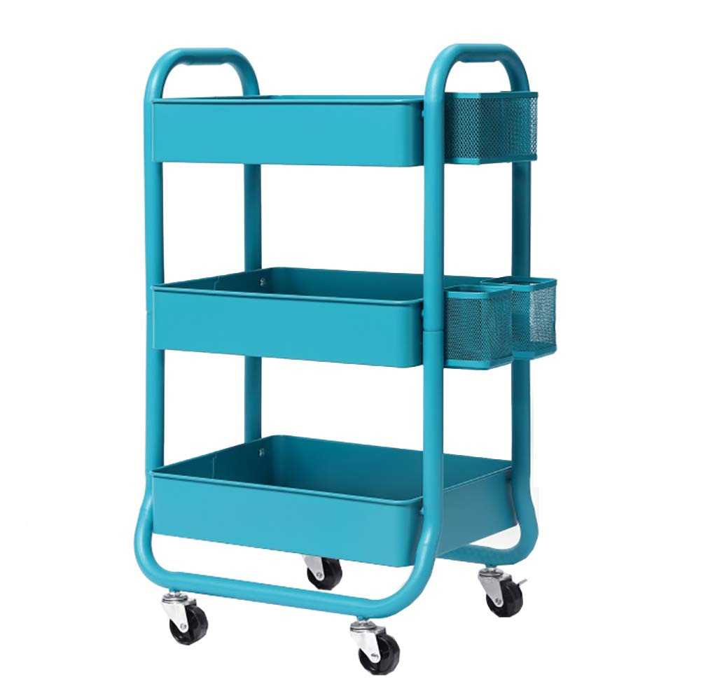 Mobile Kitchen Trolley, Three-Tier Kitchen Storage Rack Stainless Steel Fruit and Vegetable Storage Basket,Multi-Purpose Use