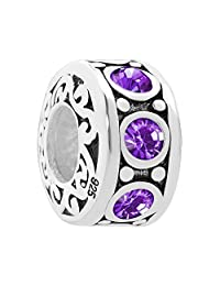 Charmed Craft 925 Sterling Silver Jan-Dec Birthstone Spacer Filigree Charm Beads For Charm Bracelets