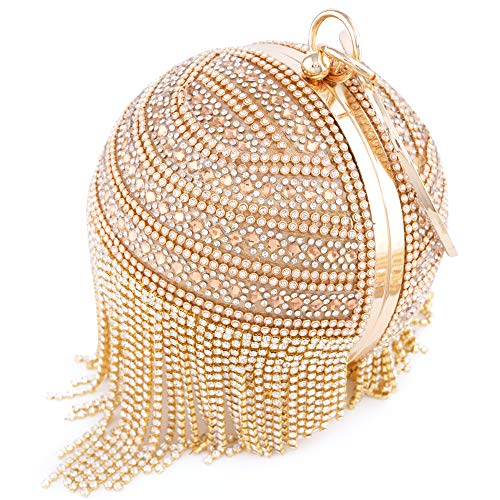 Round Tassles Rhinestone Womans Purse Clutch Full Dazzling Bag Handbag Ball Handle Ring Evening d4OF0qwFYW