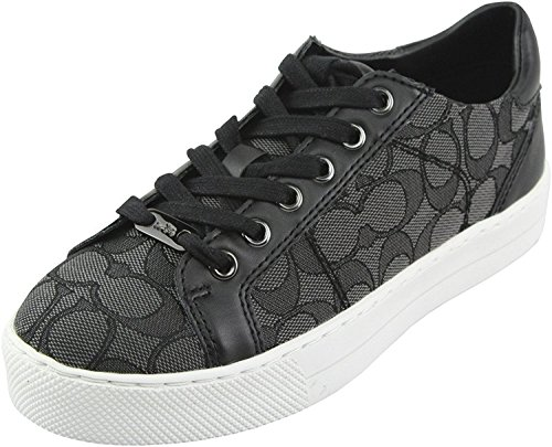 Coach Womens Paddy Low Top Lace up Fashion Sneakers, Smoke/Coal/Black, Size 6.0