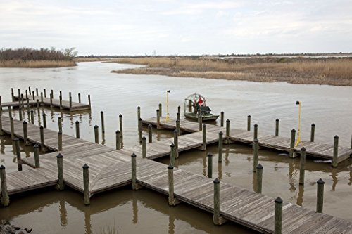 12 x 18 Photo of: An airboat lands at the dock of the 5 Rivers Delta Center located where the Mobile, Spanish, Tensaw, Apalachee and Blakeley rivers flow into Mobile - Apalachee Pictures