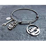 Jeep Charm Bracelet - Twisted Stainless Steel Expandable Bangle