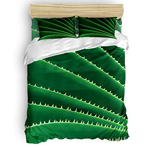 Bilagawa 4-Piece Duvet Cover Soft Bed Sheet Sets Easy Care,Sharp Agave Plant Leaves Gather Together Simple Style Bedding Set,Include 1 Flat Sheet 1 Comforter Cover and 2 Pillow Cases Twin Size ()