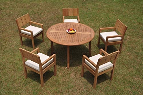 """TeakStation 5 Seater Grade-A Teak Wood 6 Pc Dining Set: 52"""" Round Table and 5 Veranda Arm Chairs #TSDSVRe"""