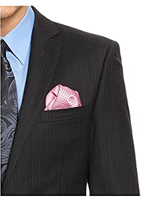 Calvin Klein Black Pinstriped Two Button Wool Suit with Flat Front Pants