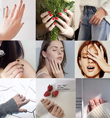 LOYALLOOK 14Pcs Thin Stacking Rings Stainless Steel 1MM Knuckle Midi Ring for Women Girls Silver-Tone Gold-Tone,Size 3-9 by LOYALLOOK (Image #1)