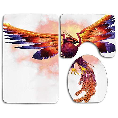 zhurunshangmaoGYS The Phoenix Firebird with Large Wings Illustration Mythical Symbol Print Non Slip Toilet Seat Cover Set,Large Contour Mat,Lid Cover,3 Piece Bathroom Rug Set