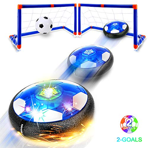 Kids Toys Hover Soccer Ball - 2019 Updated Rechargeable LED Air Power Soccer Set with 2 Goals and an Inflatable Ball, Indoor Toddler Toys for 3,4,5,6 -14 Year Old Boys Girls (Rechargeable Version) (This 2019 Christmas Toys Hottest)