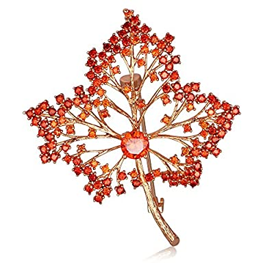 Cheap Kemstone Rose Gold Plated Orange Cubic Zirconia Maple Leaf Brooch Women Jewelry