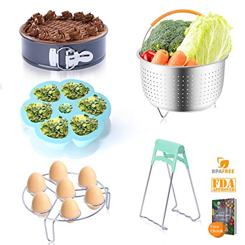 (Instant Pot Accessories Set Compatible with Instant Pot 6,8 Qt - Steamer Baskets, Springform Pan, Egg Steamer Rack, Egg Bites Mold, Dish Plate Clip with Free recipe Ebook.Best Gift Idea By JUOIFIP)