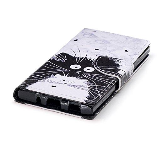 Sony Xperia XA2 Hülle Leder, Lomogo Schutzhülle Brieftasche mit Kartenfach Klappbar Magnetverschluss Stoßfest Kratzfest Handyhülle Case für Sony Xperia XA2 - LOHEX25504 #11 #12