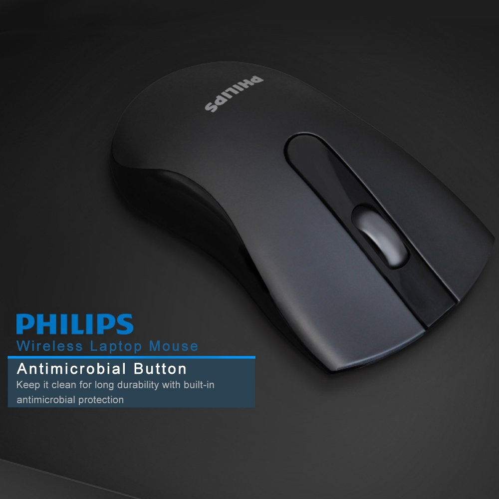 Laptop Maus Kabellos, Philips PC Maus Kabellos Schnurlos Maus 2.4 G 1000 DPI 3 Tasten Business Mouse Optischer Sensor für PC Laptop iMac Macbook Microsoft Pro, Office Home