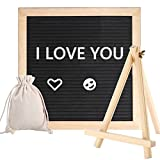 Felt Letter Board with Tripod Stand, 10x 10'' Oak Frame Changeable Wooden Message Board Signs- Hundreds of White Plastic Letters Numbles Symbols Emojis, Wall Mount, Storage Bag, Perfect gift