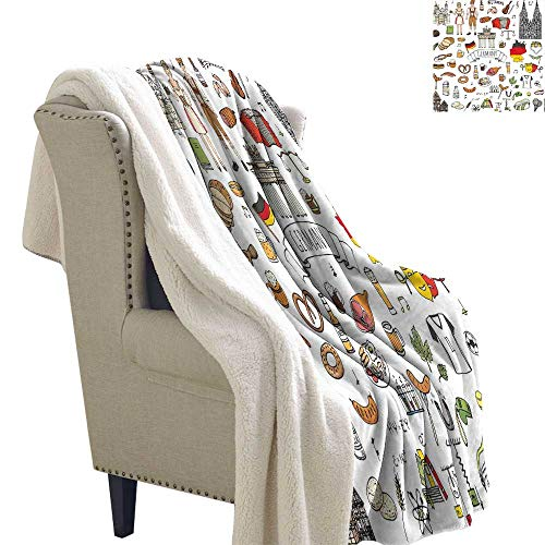 Benmo House Lightweight Microfiber Blankets German,Hand Drawn Doodle of German Culture Icons Football Jersey Food Science and Music,Multicolor Print Summer Quilt Comforter 60x32 Inch ()